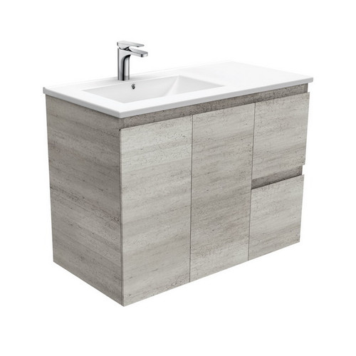 Dolce 900 Left Offset Ceramic Basin-Top + Edge Industrial Cabinet Wall-Hung 2 Door 2 Drawer 3 Tap Hole [197672]