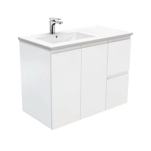 Dolce 900 Left Offset Ceramic Basin-Top + Fingerpull Matte White Cabinet Wall-Hung 2 Door 2 Drawer 3 Tap Hole [197676]