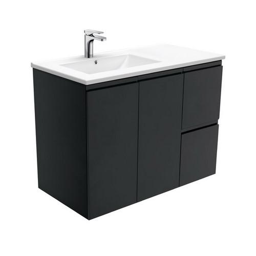 Dolce 900 Left Offset Ceramic Basin-Top + Fingerpull Matte Black Cabinet Wall-Hung 2 Door 2 Drawer 3 Tap Hole [197678]