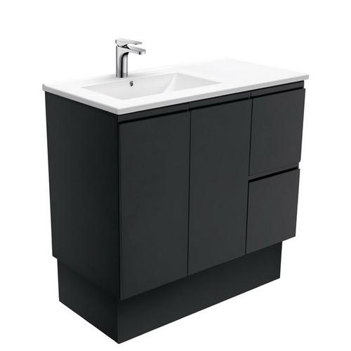 Dolce 900 Left Offset Ceramic Basin-Top + Fingerpull Matte Black Cabinet on Kick Board 2 Door 2 Drawer 3 Tap Hole [197680]