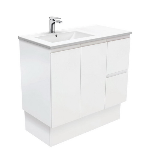 Dolce 900 Left Offset Ceramic Basin-Top + Fingerpull Matte White Cabinet on Kick Board 2 Door 2 Drawer 3 Tap Hole [197682]