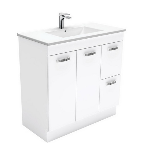 Dolce 900 Ceramic Moulded Basin-Top + Unicab Gloss White Cabinet on Kick Board 2 Door 2 Right Drawer 3 Tap Hole [197688]