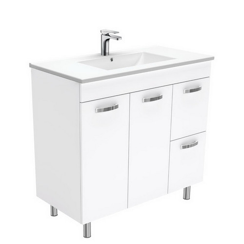 Dolce 900 Ceramic Moulded Basin-Top + Unicab Gloss White Cabinet on Legs 2 Door 2 Right Drawer No Tap Hole [197693]