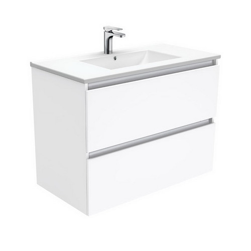 Dolce 900 Ceramic Moulded Basin-Top + Quest Gloss White Cabinet Wall-Hung 2 Drawer No Tap Hole [197699]