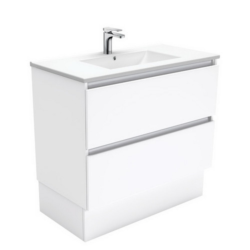 Dolce 900 Ceramic Moulded Basin-Top + Quest Gloss White Cabinet on Kick Board2 Drawer No Tap Hole [197702]