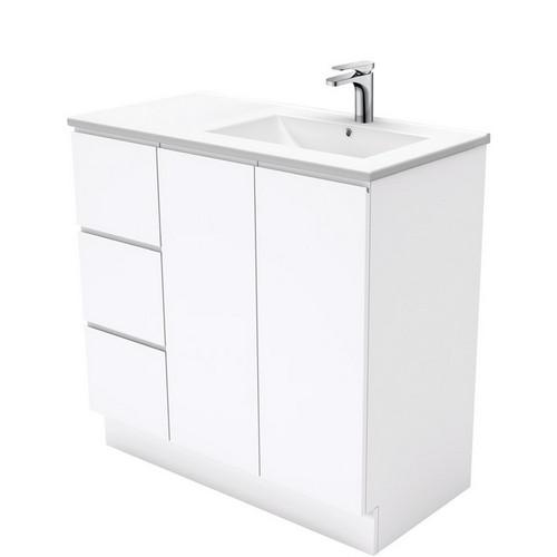 Dolce 900 Right Offset Ceramic Basin-Top + Fingerpull Gloss White Cabinet on Kick Board 2 Door 3 Drawer 1 Tap Hole [197704]