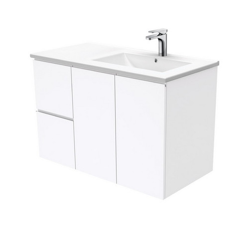 Dolce 900 Right Offset Ceramic Basin-Top + Fingerpull Gloss White Cabinet Wall-Hung 2 Door 3 Drawer 1 Tap Hole [197706]