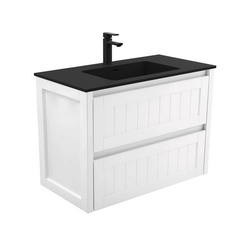 Montana 900 Solid Surface Moulded Basin-Top + Hampton Satin White Cabinet Wall-Hung 2 Drawer 3 Tap Hole [196507]