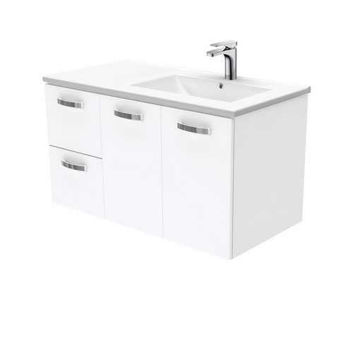 Dolce 900 Right Offset Ceramic Basin-Top + Unicab Gloss White Cabinet Wall-Hung 2 Door 2 Drawer 3 Tap Hole [197709]