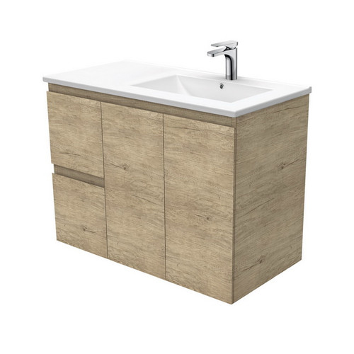 Dolce 900 Right Offset Ceramic Basin-Top + Edge Scandi Oak Cabinet Wall-Hung 2 Door 2 Drawer 3 Tap Hole [197713]