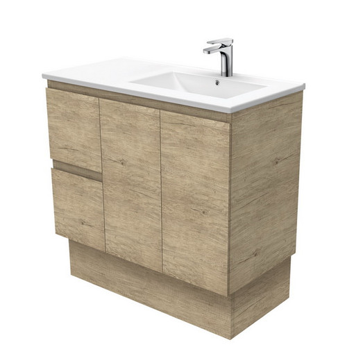 Dolce 900 Right Offset Ceramic Basin-Top + Edge Scandi Oak Cabinet on Kick Board 2 Door 2 Drawer 1 Tap Hole [197714]