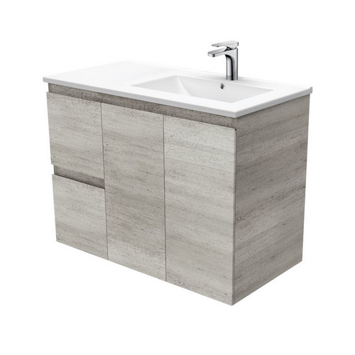 Dolce 900 Right Offset Ceramic Basin-Top + Edge Industrial Cabinet Wall-Hung 2 Door 2 Drawer 1 Tap Hole [197716]