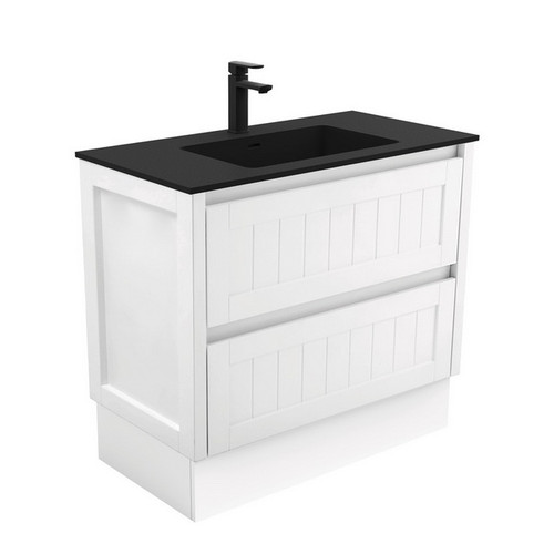 Montana 900 Solid Surface Moulded Basin-Top + Hampton Satin White Cabinet on Kick Board 2 Drawer 1 Tap Hole [196508]