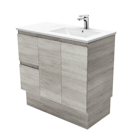 Dolce 900 Right Offset Ceramic Basin-Top + Edge Industrial Cabinet on Kick Board 2 Door 2 Drawer 3 Tap Hole [197719]