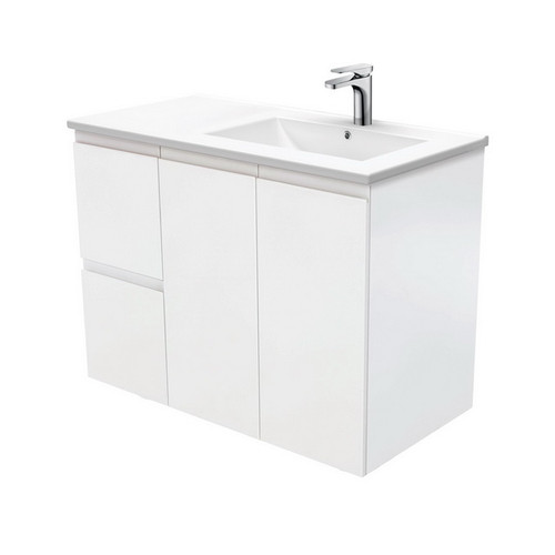 Dolce 900 Right Offset Ceramic Basin-Top + Fingerpull Matte White Cabinet Wall-Hung 2 Door 2 Drawer 3 Tap Hole [197721]