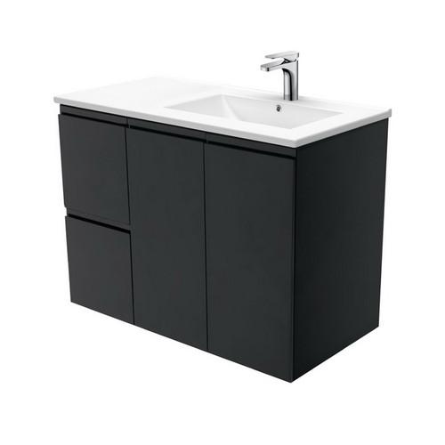 Dolce 900 Right Offset Ceramic Basin-Top + Fingerpull Matte Black Cabinet Wall-Hung 2 Door 2 Drawer 3 Tap Hole [197723]