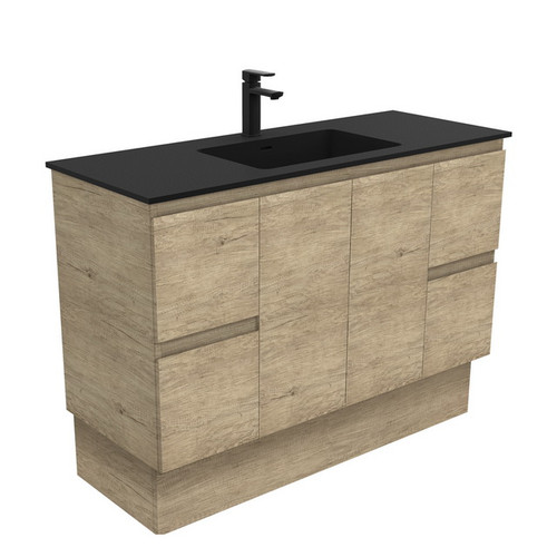 Montana 1200 Solid Surface Moulded Basin-Top + Edge Scandi Oak Cabinet on Kick Board 2 Door 4 Drawer 3 Tap Hole [196387]
