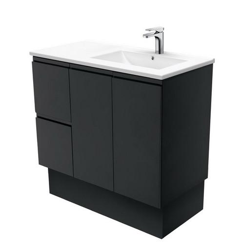 Dolce 900 Right Offset Ceramic Basin-Top + Fingerpull Matte Black Cabinet on Kick Board 2 Door 2 Drawer 3 Tap Hole [197725]