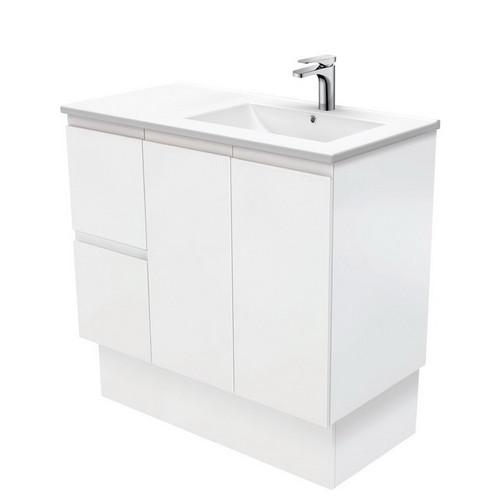 Dolce 900 Right Offset Ceramic Basin-Top + Fingerpull Matte White Cabinet on Kick Board 2 Door 2 Drawer 3 Tap Hole [197727]