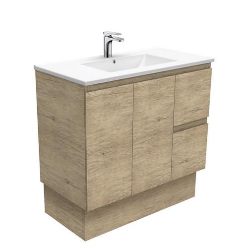 Dolce 900 Ceramic Moulded Basin-Top + Edge Scandi Oak Cabinet on Kick Board 2 Door 2 Left Drawer 3 Tap Hole [197730]