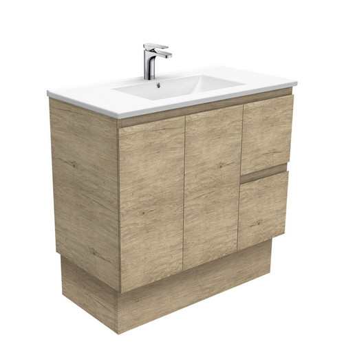 Dolce 900 Ceramic Moulded Basin-Top + Edge Scandi Oak Cabinet on Kick Board 2 Door 2 Right Drawer 3 Tap Hole [197733]