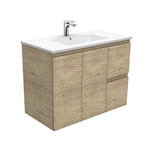Dolce 900 Ceramic Moulded Basin-Top + Edge Scandi Oak Cabinet Wall-Hung 2 Door 2 Left Drawer No Tap Hole [197735]