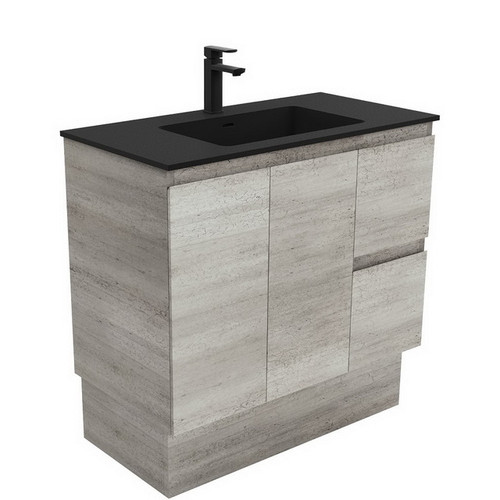 Montana 900 Solid Surface Moulded Basin-Top + Edge Industrial Cabinet on Kick Board 2 Door 2 Left Drawer 3 Tap Hole [196510]
