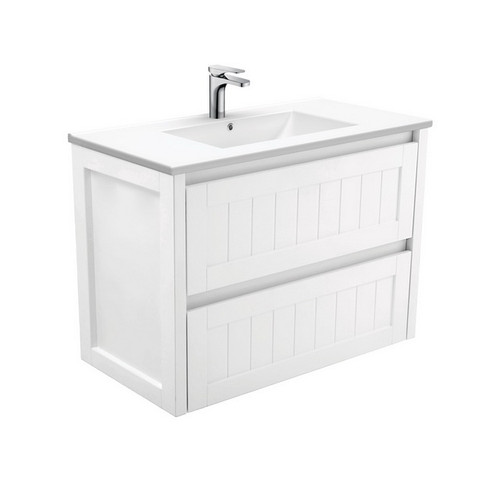 Dolce 900 Ceramic Moulded Basin-Top + Hampton Satin White Cabinet Wall-Hung 3 Tap Hole [197742]