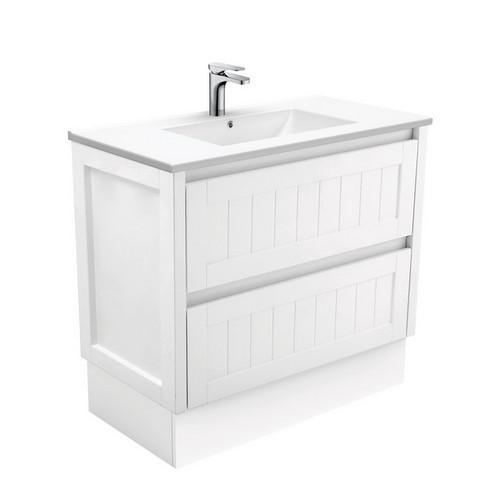 Dolce 900 Ceramic Moulded Basin-Top + Hampton Satin White Cabinet on Kick Board 3 Tap Hole [197745]