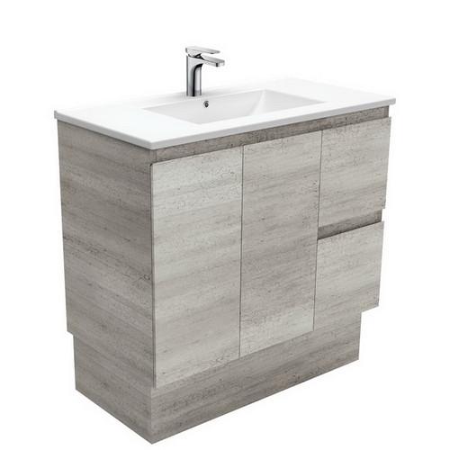 Dolce 900 Ceramic Moulded Basin-Top + Edge Industrial Cabinet on Kick Board 2 Door 2 Left Drawer No Tap Hole [197746]