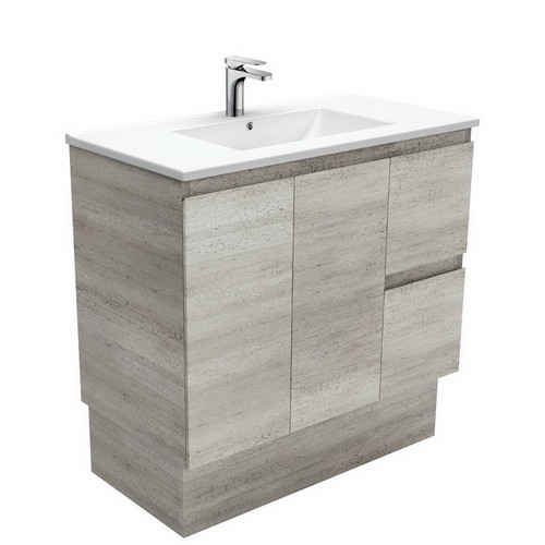 Dolce 900 Ceramic Moulded Basin-Top + Edge Industrial Cabinet on Kick Board 2 Door 2 Right Drawer No Tap Hole [197748]