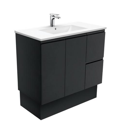 Dolce 900 Ceramic Moulded Basin-Top + Fingerpull Satin Black Cabinet on Kick Board 2 Door 2 Left Drawer 3 Tap Hole [197756]