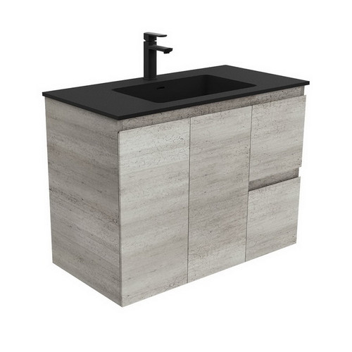Montana 900 Solid Surface Moulded Basin-Top + Edge Industrial Cabinet Wall-Hung 2 Door 2 Left Drawer 3 Tap Hole [196512]