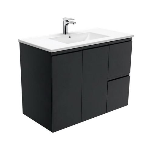 Dolce 900 Ceramic Moulded Basin-Top + Fingerpull Satin Black Cabinet Wall-Hung 2 Door 2 Left Drawer 3 Tap Hole [197762]