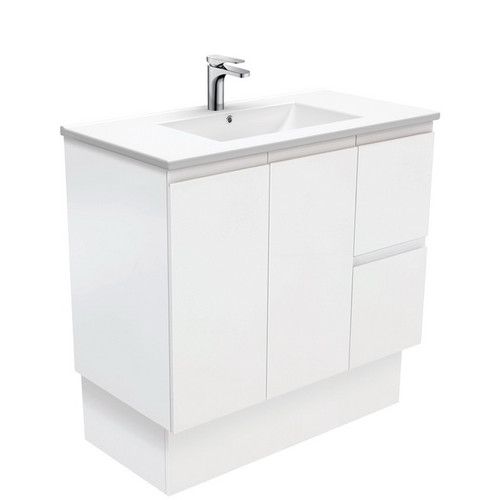 Dolce 900 Ceramic Moulded Basin-Top + Fingerpull Satin White Cabinet on Kick Board 2 Door 2 Left Drawer 3 Tap Hole [197768]