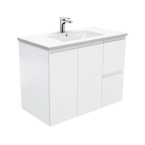 Dolce 900 Ceramic Moulded Basin-Top + Fingerpull Satin White Cabinet Wall-Hung 2 Door 2 Left Drawer 3 Tap Hole [197774]