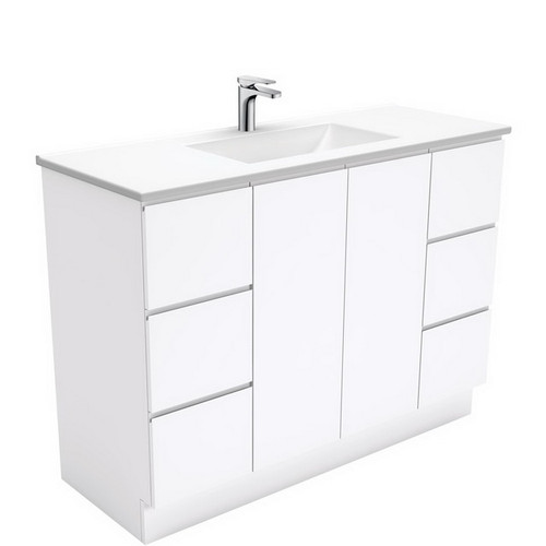 Vanessa 1200 Poly-Marble Moulded Basin-Top + Fingerpull Gloss White Cabinet on Kick Board 3 Tap Hole [197784]