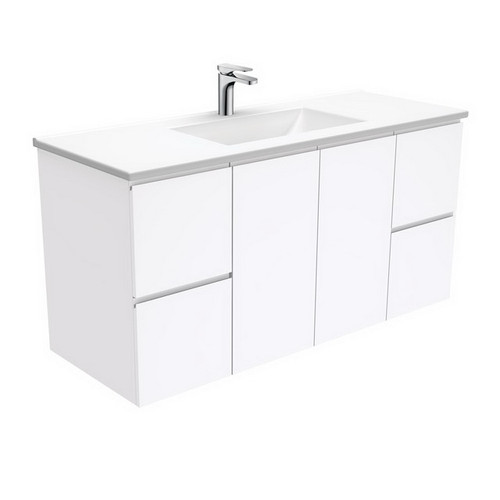 Vanessa 1200 Poly-Marble Moulded Basin-Top + Fingerpull Gloss White Cabinet Wall-Hung 2 Door 2 Drawer 1 Tap Hole [197785]