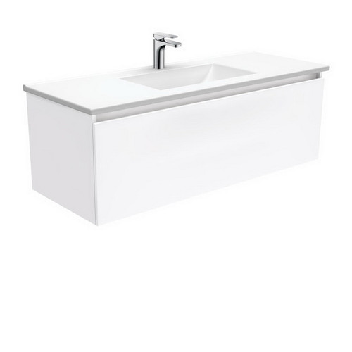 Vanessa 1200 Poly-Marble Moulded Basin-Top + Manu Gloss White Cabinet Wall-Hung 4 Internal Drawer 1 Tap Hole [197787]