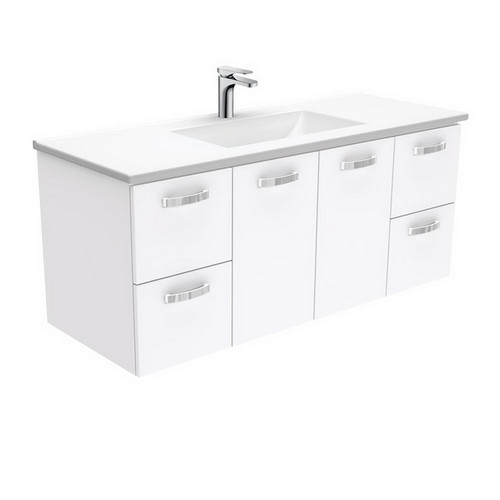 Vanessa 1200 Poly-Marble Moulded Basin-Top + Unicab Gloss White Cabinet Wall-Hung 3 Tap Hole [197789]