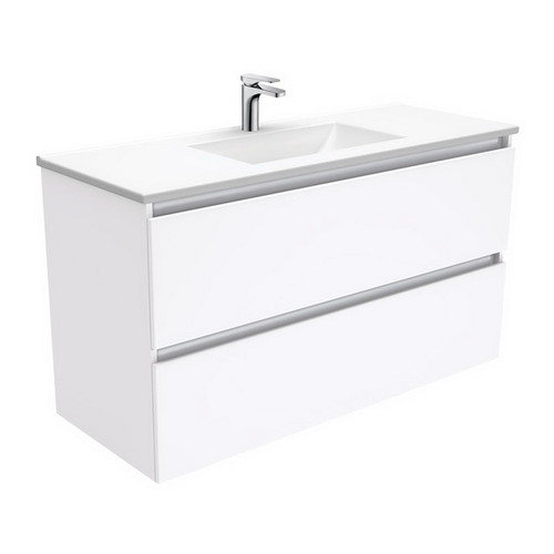 Vanessa 1200 Poly-Marble Moulded Basin-Top + Quest Gloss White Cabinet Wall-Hung 2 Drawer 3 Tap Hole [197795]