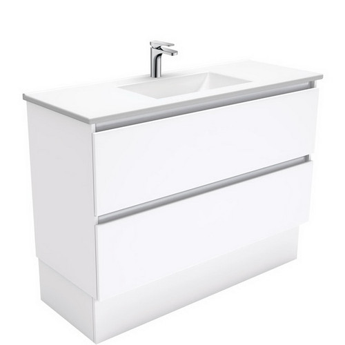 Vanessa 1200 Poly-Marble Moulded Basin-Top + Quest Gloss White Cabinet on Kick Board 2 Drawer 1 Tap Hole [197796]