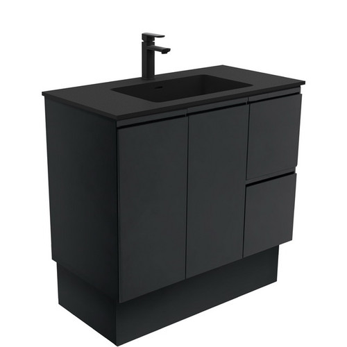 Montana 900 Solid Surface Moulded Basin-Top + Fingerpull Satin Black Cabinet on Kick Board 2 Door 2 Right Drawer 1 Tap Hole [196516]