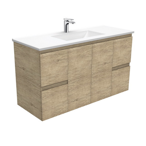 Vanessa 1200 Poly-Marble Moulded Basin-Top + Edge Scandi Oak Cabinet Wall-Hung 3 Tap Hole [197799]