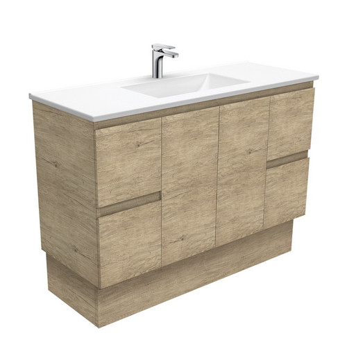 Vanessa 1200 Poly-Marble Moulded Basin-Top + Edge Scandi Oak Cabinet on Kick Board 1 Tap Hole [197800]