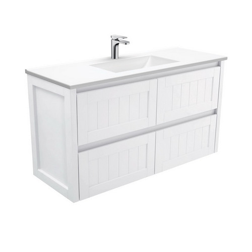 Vanessa 1200 Poly-Marble Moulded Basin-Top + Hampton Satin White Cabinet Wall-Hung 4 Drawer 1 Tap Hole [197802]