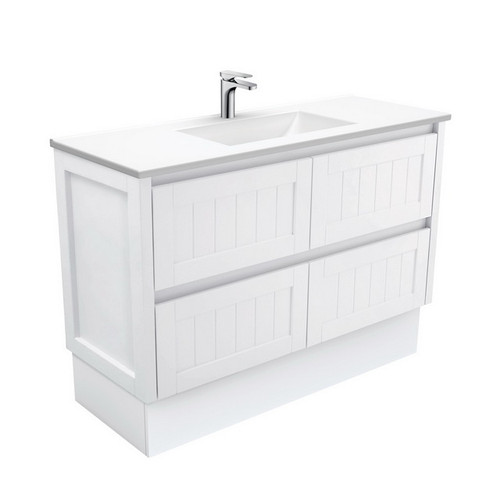 Vanessa 1200 Poly-Marble Moulded Basin-Top + Hampton Satin White Cabinet on Kick Board 4 Drawer 1 Tap Hole [197804]