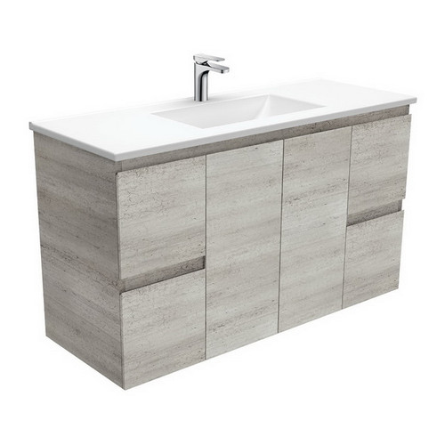 Vanessa 1200 Poly-Marble Moulded Basin-Top + Edge Industrial Cabinet Wall-Hung 3 Tap Hole [197807]
