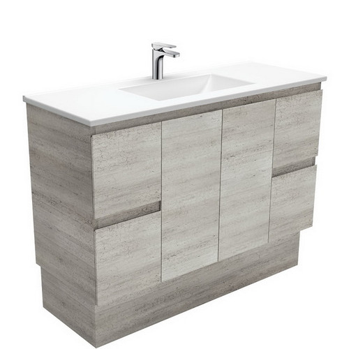 Vanessa 1200 Poly-Marble Moulded Basin-Top + Edge Industrial Cabinet on Kick Board 3 Tap Hole [197809]