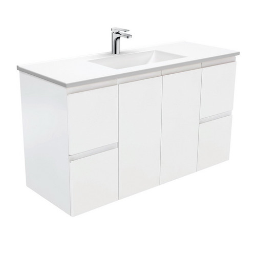 Vanessa 1200 Poly-Marble Moulded Basin-Top + Fingerpull Satin White Cabinet Wall-Hung 1 Tap Hole [197810]